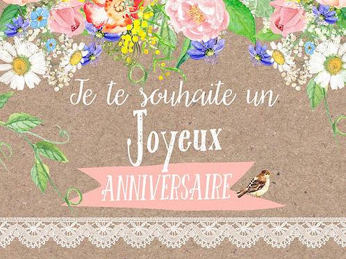 Carte message fleuriste x 25 - Joyeux Anniversaire Kraft Bouquet fleurs