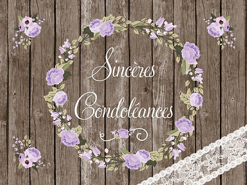 Carte fleuriste x 25  -Sincères Condoléances- Réf FL025