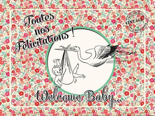 Carte fleuriste x 25 -Welcome Baby- Réf FL013