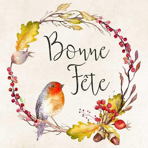 Carte de voeux  x 15  -Bonne Fête Rouge gorge- Réf DA022
