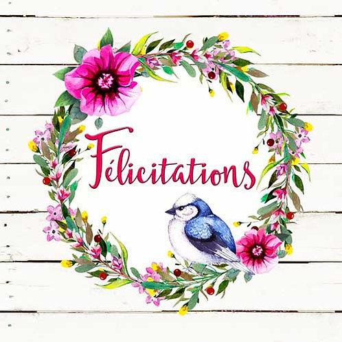 Carte de voeux x 15  -Félicitations- Réf DA001