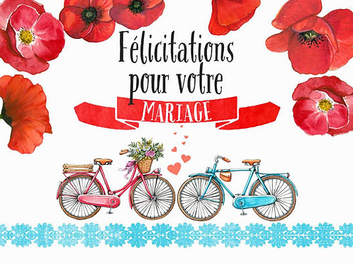 Carte message fleuriste x 25 - Félicitations Mariage