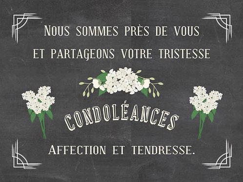 Carte fleuriste x 25  -Nous partageons votre tristesse- Réf FL026