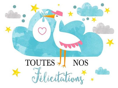 Carte fleuriste x 25 - Félicitations Bébé
