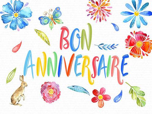 Carte message fleuriste x 25 - Bon Anniversaire