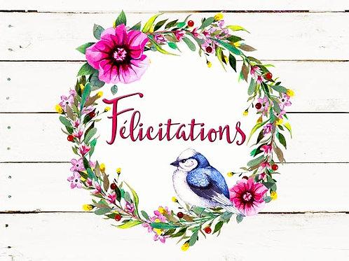 Carte fleuriste x 25 - Félicitations Couronne