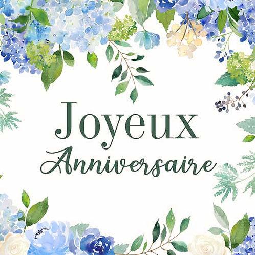 Carte de voeux  x 15  -Joyeux Anniversaire hortensia- Réf DA023