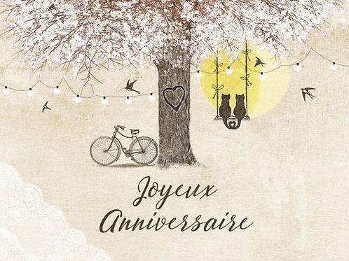 Carte message fleuriste x 25 - Joyeux anniversaire Nature arbre en fleurs