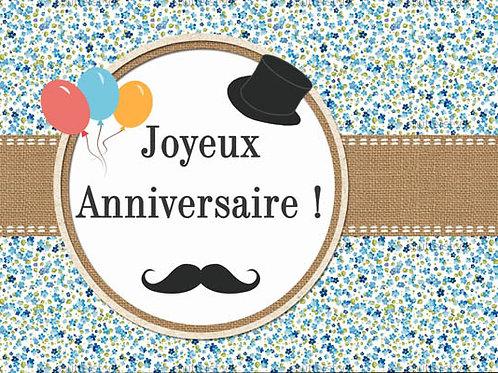 Carte fleuriste x 25 -Anniversaire Moustache- Réf FL008