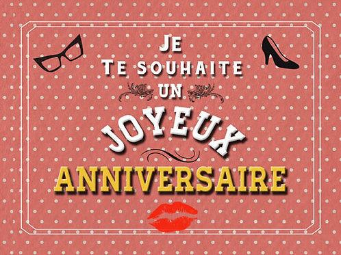 Carte fleuriste x 25  -Joyeux Anniversaire Talons lunettes- Réf FL044