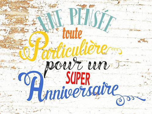 Carte message fleuriste x 25 - Anniversaire fond Bois