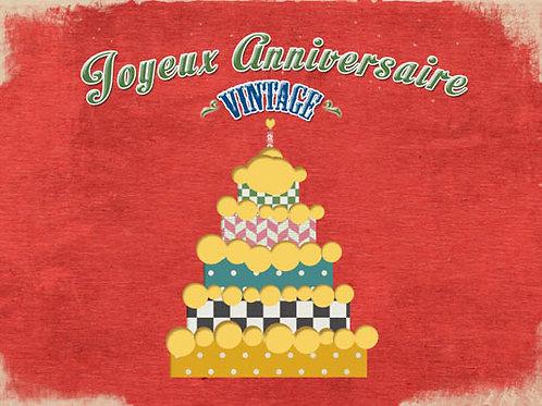 Carte fleuriste x 25  -Joyeux Anniversaire Vintage- Réf FL047