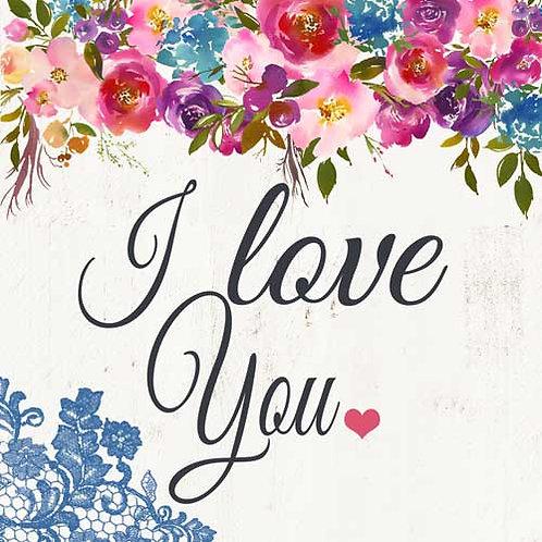 Carte de voeux  x 15  -I Love you- Réf DA036