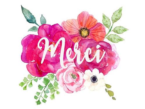 Carte fleuriste x 25 - Merci