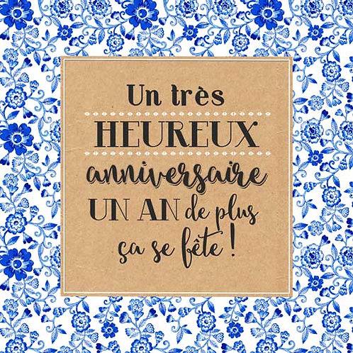 Carte de voeux  x 15  -Anniversaire Un an de plus- Réf DA018