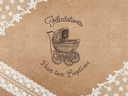 Carte fleuriste x 25 -Félicitation Baptême Kraf- Réf FL022