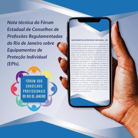 Nota de esclarecimento sobre EPIs do Fórum Estadual de Conselhos do Rio de Janeiro