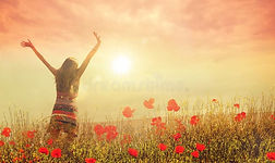 happy-woman-poppies-hands-raised-up-suns