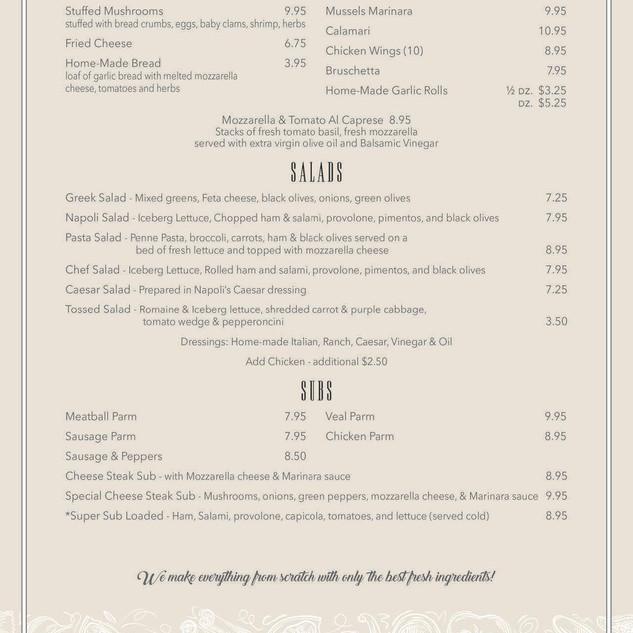 Napoli's menu 2