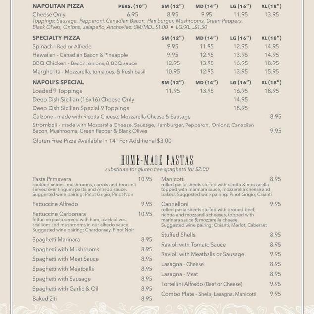 Napoli's menu 4