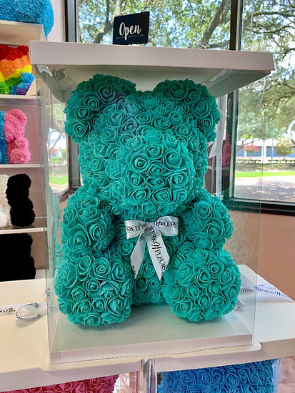 Tiffany BLUE Rose Teddy Bear