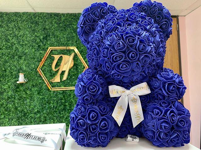 Royal Blue Rose Teddy Bear