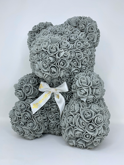 GREY Rose Teddy Bear