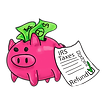 money pig with taxes