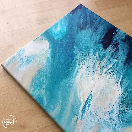 """""""Beach Storm"""" Original Abstract Acrylic Fluid Canvas Art Painting"""