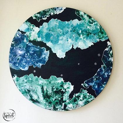 """Above The Sea"" Original Abstract Acrylic Fluid Art Canvas Painting"