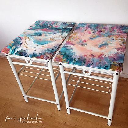 """Joyous"" Original Resined Side Table x 2"