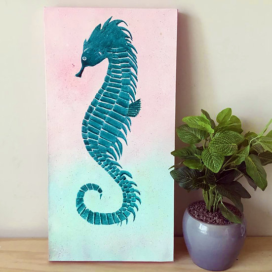 """Seahorse"" Original Abstract Acrylic Canvas Art Painting"