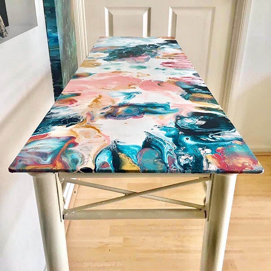 """""""A Day To Remember"""" Original Resined Side Table"""