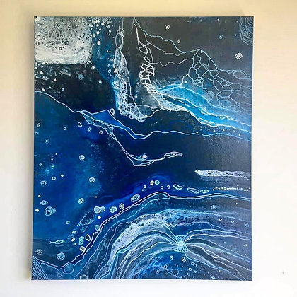 """Connection"" Original Abstract Acrylic Fluid Canvas Art Painting"
