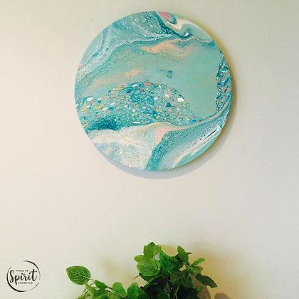 """""""Ocean Gems"""" Original Abstract Acrylic Fluid Canvas Art Painting"""