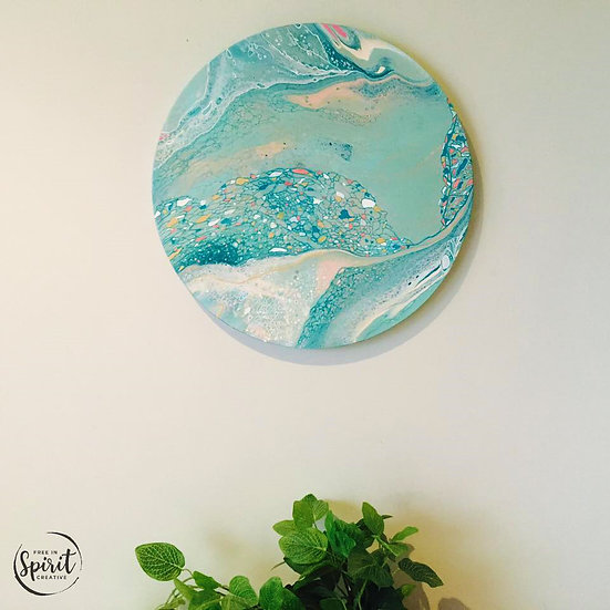 """Ocean Gems"" Original Abstract Acrylic Fluid Canvas Art Painting"