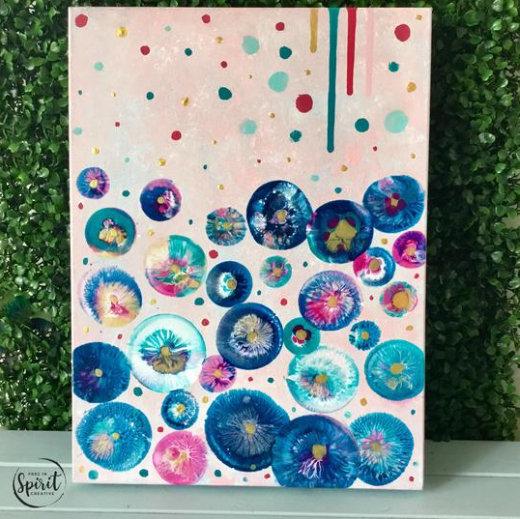 """Celebration"" Original Abstract Acrylic Fluid Canvas Art Painting"