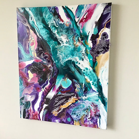 """Midnight Garden"" Original Abstract Acrylic Fluid Canvas Art Painting"