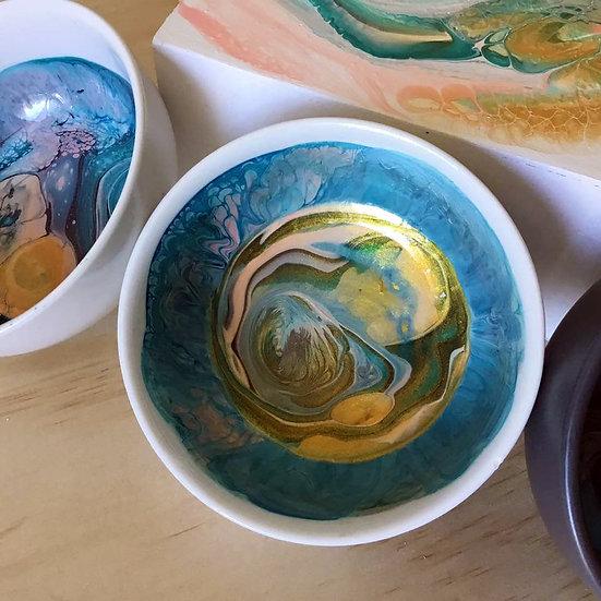 """""""Blue Gold Pink"""" Resined Trinket Bowl Original Fluid Art"""