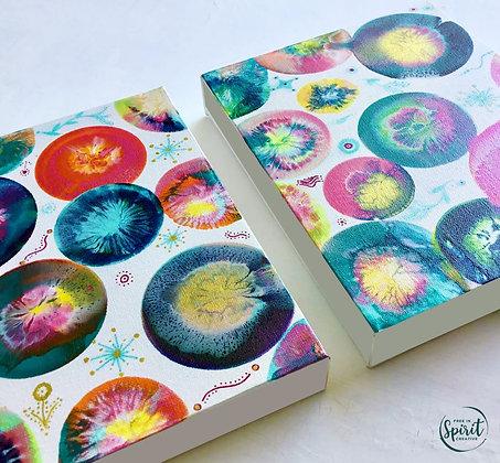 """Joylight"" Original Abstract Acrylic Fluid Canvas Art Painting Set"