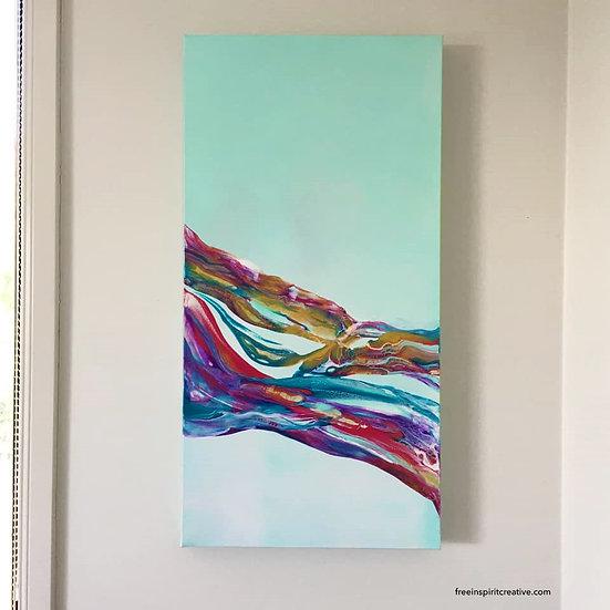 """Calming Dance"" Original Abstract Acrylic Fluid Canvas Art Painting"