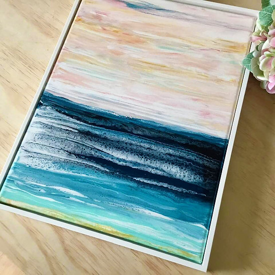 """""""Calm Waters"""" Original Abstract Acrylic Fluid Canvas Art Painting"""