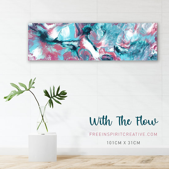"""""""With The Flow"""" Original Abstract Acrylic Fluid Canvas Art Painting"""