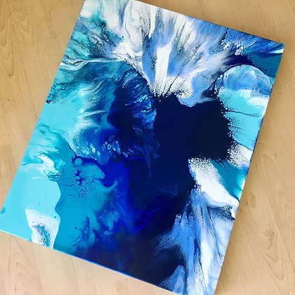 """""""Under The Waves"""" Original Abstract Acrylic Fluid Canvas Art Painting"""