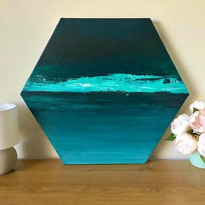"""""""Mint Ocean Days"""" Original Abstract Acrylic Fluid Canvas Art Painting"""