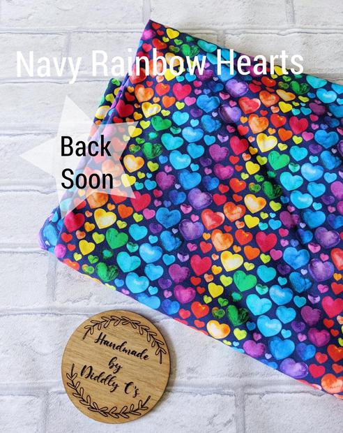 Navy Rainbow Hearts