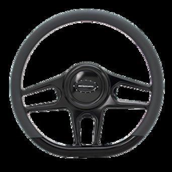 """Hydro - 14"""" D-Shape Black Anodized Steering Wheel"""