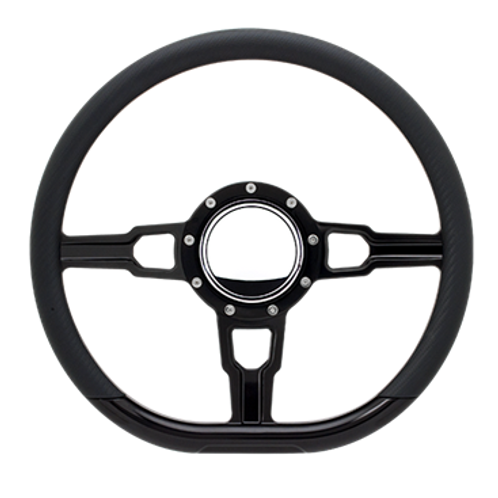 "Hairpin - 14"" Black Anodized D-Shape Steering Wheel"