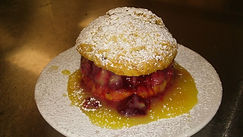 Almond shortcake with raspberries and le