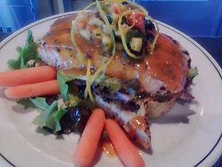 Seared Salmon with Orange mojo and Mango